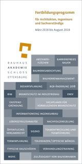 Programm für Architekten, Ingenieure und Sachverständige 03/2018 bis 08/2018