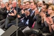 """Festakt zum zehnten Jahrestag der Wiedereröffnung von Schloss Ettersburg im März 2018. Ehrengäste waren unter vielen anderen der Thüringer Ministerpräsident, Bodo Ramelow, der Präsident des Thüringer Landtages, Christian Carius, und Prinz Michael von Sachsen-Weimar-Eisenach. Bodo Ramelow: """"Wir sollten heute nicht mehr sagen: Schloss Ettersburg liegt bei Weimar, sondern: Weimar steht jetzt im Schatten Ettersburgs."""" Foto Axel Clemens."""